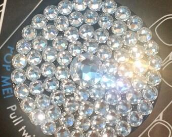 Black Popsocket made with Clear, Aurora Borealis (AB) or Black Diamond Swarovski Crystals