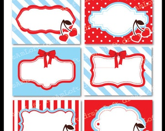 Cherry Love Collection Printable Cards, Labels & Tags great for gift tags, place cards, recipe cards, labeling, scrapbooking and more