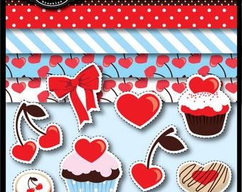 Cherry Love Clip Art and Papers for cards, stationary, invitations, party favors, and all paper crafts
