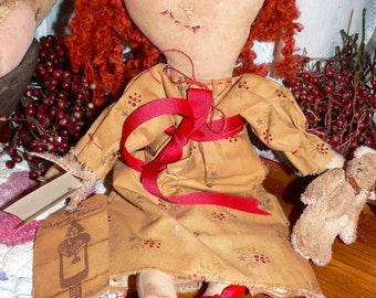 Primitive Handmade Raggedy Annie and Her Rabbit, Home Decor, Prims, Rag Doll, Prim Doll, Prim Decor, Plush Rabbit, Handmade Folk Art, HAFIAR