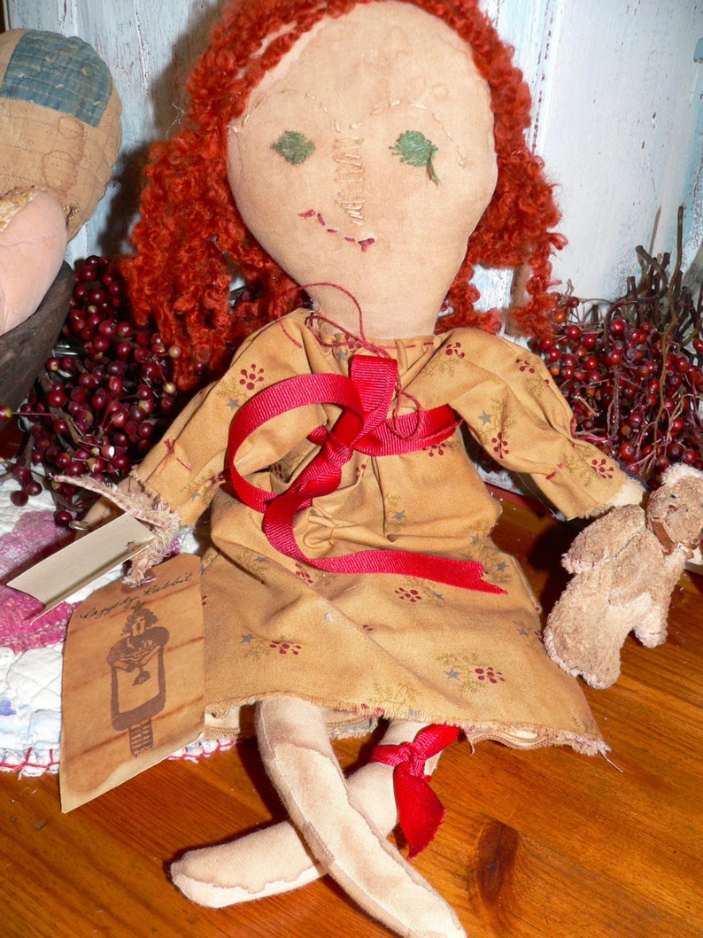 Primitive Handmade Raggedy Annie and Her Rabbit Home Decor image 0