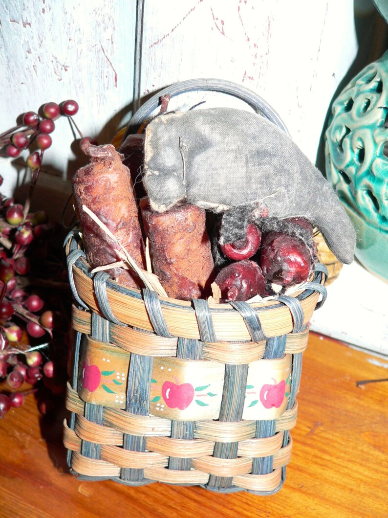 Primitive Hand Made Basket with Candles and Crow Basket image 0