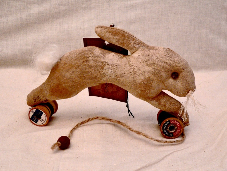 Primitive Rabbit Pull Toy  Rabbit pull toy Bunny Pull toy image 0
