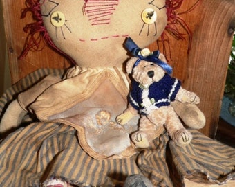 Primitive Raggedy Ann,  Rag Doll, Raggedy, Teddy Bear, Primitive Decor, Prims, Primitive Doll, Prim Decor, Prim Doll, Annie Doll, HAFAIR