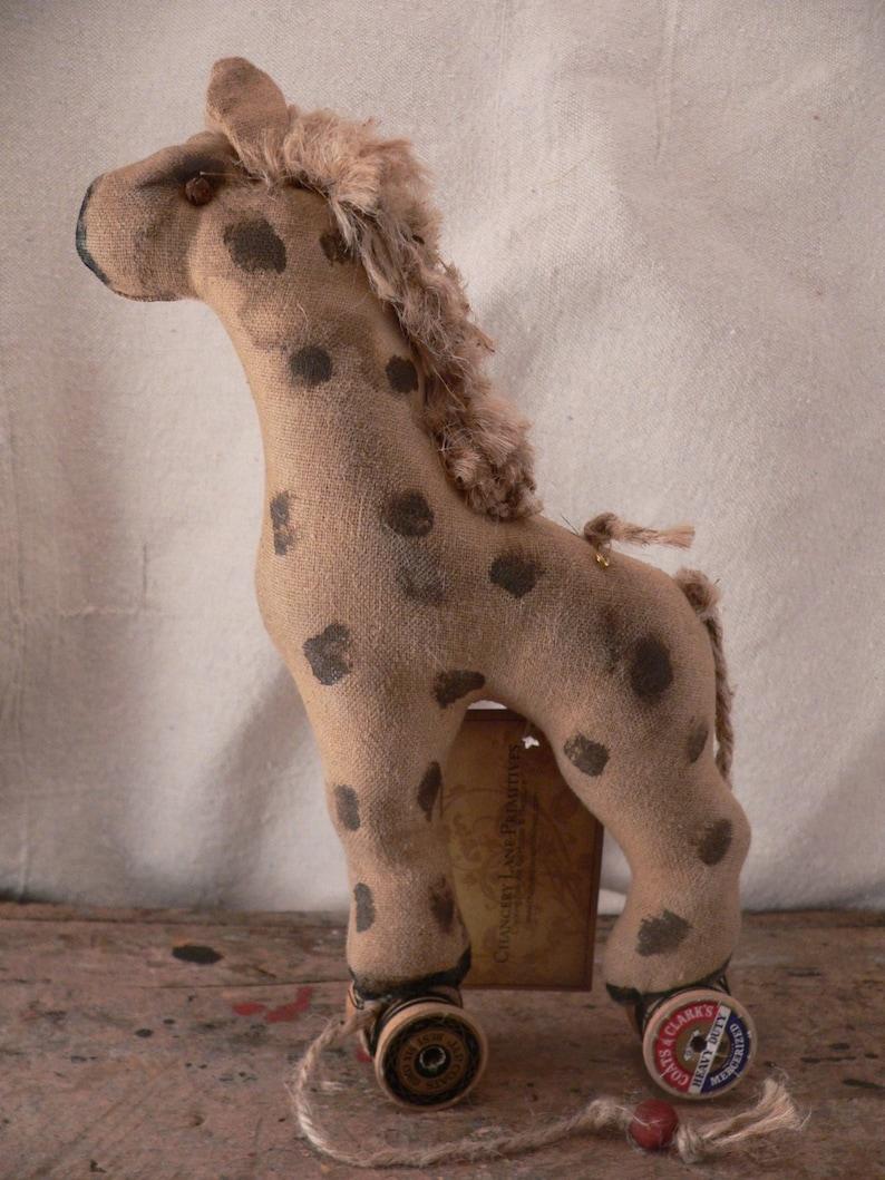 Primitive Handmade Giraffe Pull Toy Nursery Decor Prim Home image 0