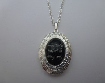 Mary Poppins Practically Perfect In Every Way Silver Locket Necklace/Pendant