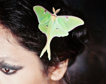 Halloween Luna Moth hair clip with Swarovski crystals