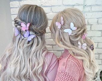 Silk butterfly hair clips