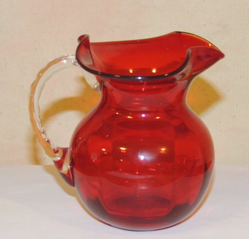 Mid Century Red Hand Blown Small Glass Pitcher