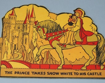 1930s Walt Disney Enterprises Snow White and Prince Charming cardboard stand up