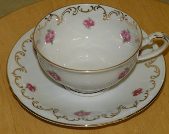 Winterling Bavaria Germany Pink Rose Cup and Saucer