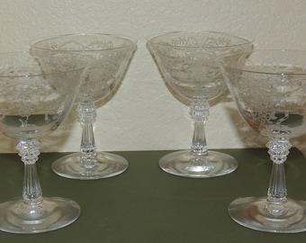 4 Fostoria ROMANCE Sherbet or Champagne Glasses
