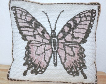 Hand Made Needlepoint BUTTERFLY Pillow