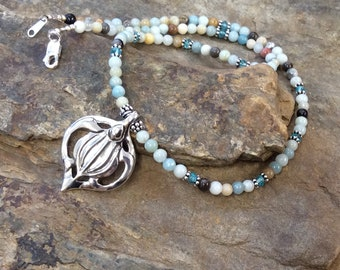 "Leatherback Turtle 18"" Necklace with Black / Gold Amazonite and Apatite Beads, Sea Turtle, Turtle Totem, Symbolic Jewelry"