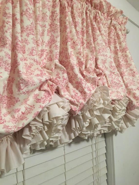 Rosa Kinderzimmer Toile Ballon Vorhang mit doppelten Rüschen Pergament