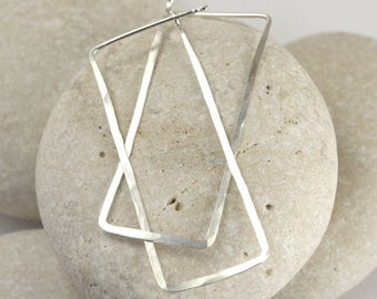 Long Silver Rectangle Earrings, Hammered 14K White Gold or Sterling Silver Hoops