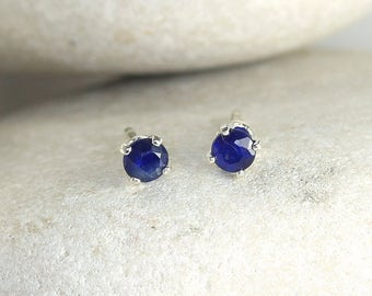 Tiny Sapphire Earrings with Sterling Silver Posts, second hole stud earrings