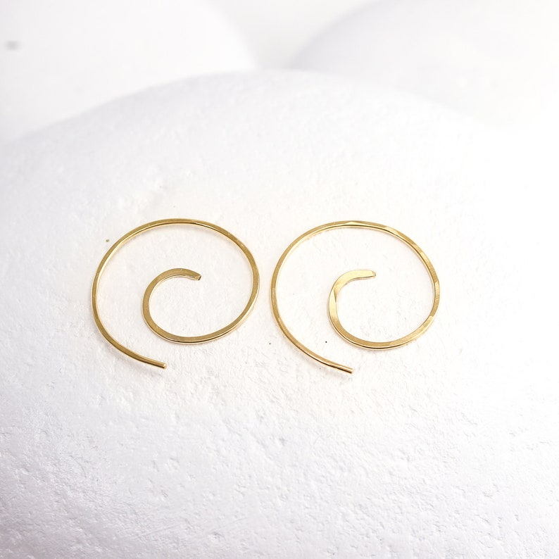 Hammered Mini Spiral Earrings Swirls in Sterling Silver Solid 14K or Gold Fill