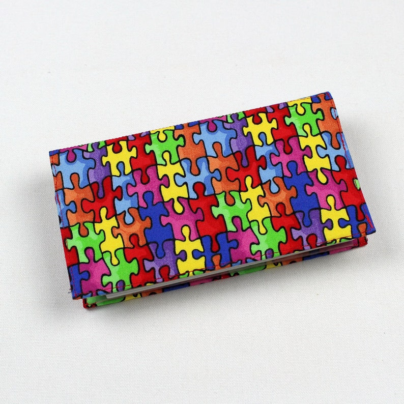 Autism Love Completes the Puzzle Checkbook Cover with Free Pen