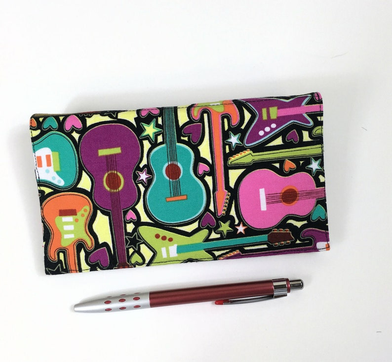 Bright Guitars Girls Rock Cotton Fabric Guitar Checkbook Cover with Pen Holder and Duplicate Checks Flap Music Checkbook