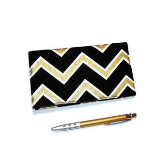 Chevron Checkbook Cover, Duplicate Checks, Pen Holder in Metallic Gold & Black Design, Elegant Art Deco Cotton Fabric