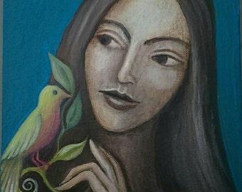 Pajaro. Original painting.