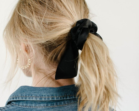 Black Silk Scrunchie/Ponytail Holder/Hair Tie/Tails/Gift for Her