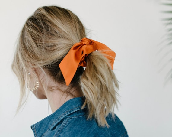 Silk Scrunchie/Ponytail Holder/Hair Tie/Bunny Ears/Orange/Gift for Her