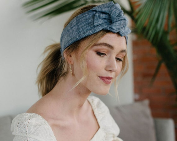 Knotted Headband/Chambray Turban/Headwrap/Gift for Her