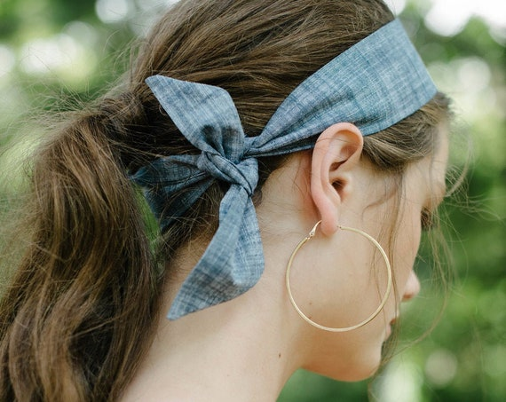 Short Skinny Scarf/Chambray/Headband/Ponytail Scarf/Hair Scarf/Gift for Her