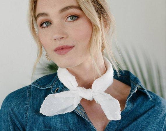 Square Neck Scarf/Ivory Bandana/Cotton Neckerchief/Gift for Her