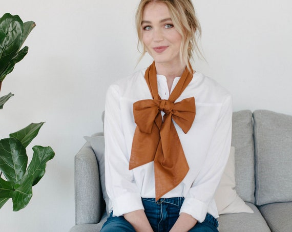 Long Skinny Scarf/Bow Neck Scarf/Burnt Sienna/Gift for Her