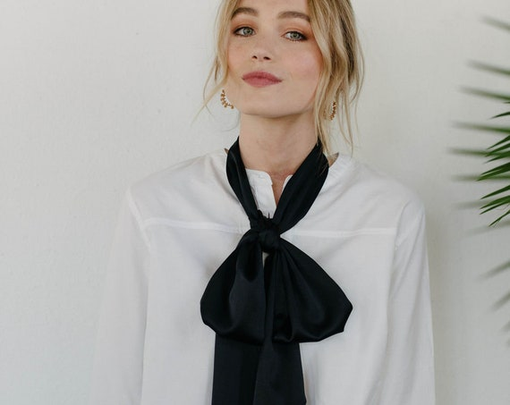 Long Silk Skinny Scarf/Bow Neck Scarf/Black Hair Scarf/Gift for Her