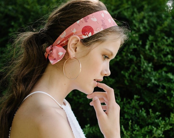 Short Skinny Scarf/Pink/Headband/Hair Scarf/Ponytail Scarf/Gift for Her