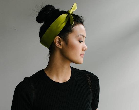 Silk Skinny Scarf/Green Neck Scarf/Headband/Hair Tie/Ponytail Scarf