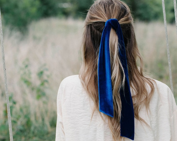 Royal Blue Velvet Skinny Scarf/Headband/Hair Tie/Pony Scarf