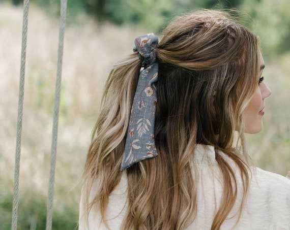 Grey Floral Chiffon Scrunchie/Bow Scrunchie/Pony Scarf