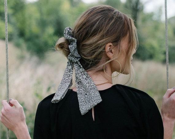 Floral Chiffon Scrunchie/Bow Scrunchie/Pony Scarf