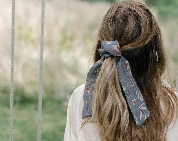 Grey Floral Chiffon Scrunchie/Bow Scrunchie/Pony Scarf