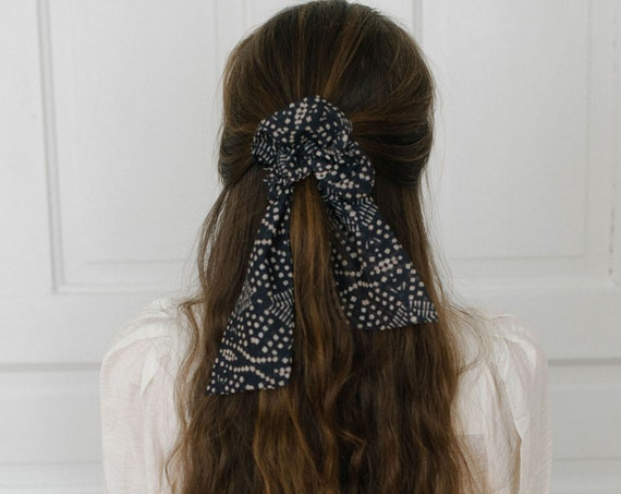 Black and Beige Scrunchie Scarf/Bow Scrunchie/Scarf Pony/Hair Scarf