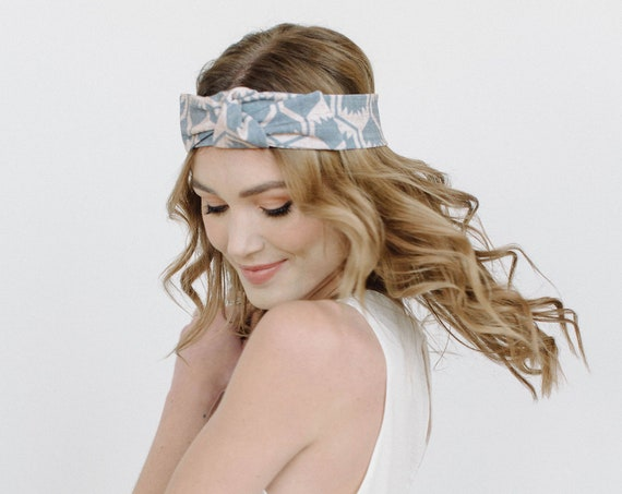 Printed Stretch Headband/Knotted Headband/Soft Headband/Grey