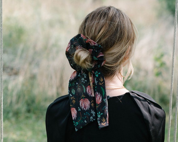 Black and Pink Floral Scrunchie/Pony Scarf/Hair Tie