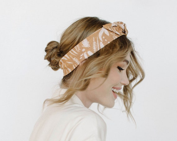Gold Knotted Stretch Headband/Top Knot/Bow