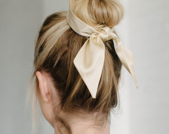 Ivory Silk Skinny Scarf/Hair Scarf/Headband/Pony Scarf