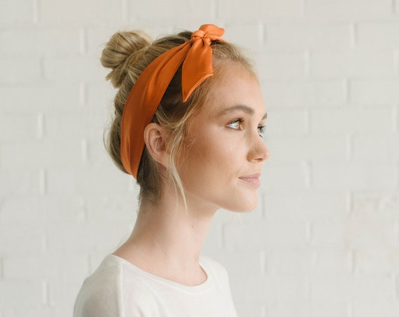 Silk Skinny Scarf/Orange Neck Scarf/Hair Scarf/Hair Tie/Gift for Her