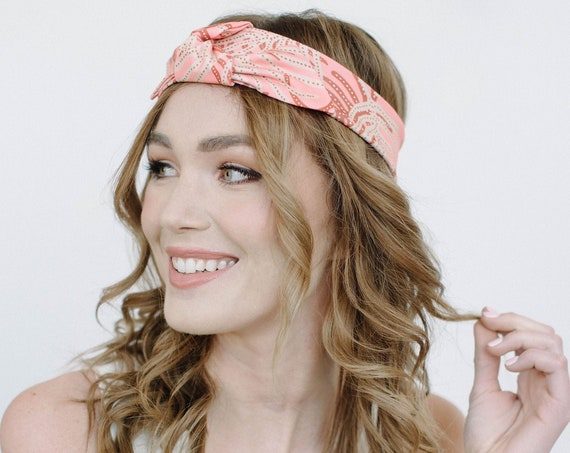 Printed Stretch Headband/Knotted Headband/Soft Headband/Peach Pink