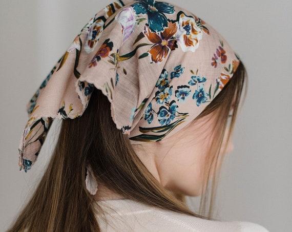 Floral Hair Scarf, Bandana, Square Scarf