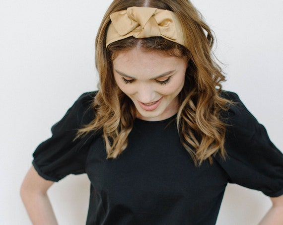 Silk Knotted Headband/Top Knot Headband/Silk Turban/Gold/Taupe