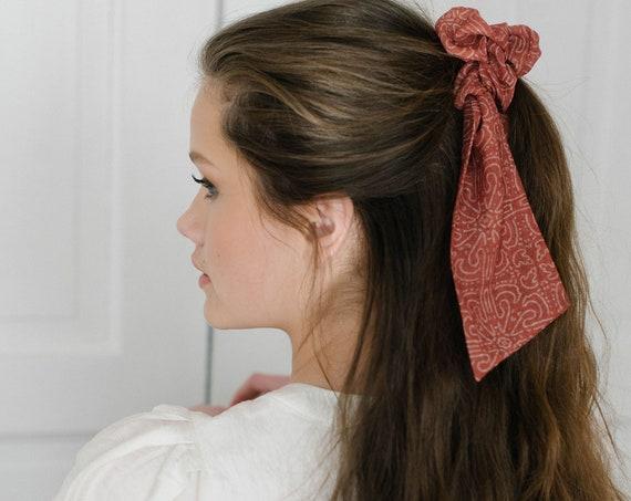 Terracotta Scrunchie Scarf/Bow Scrunchie/Scarf Pony/Hair Scarf
