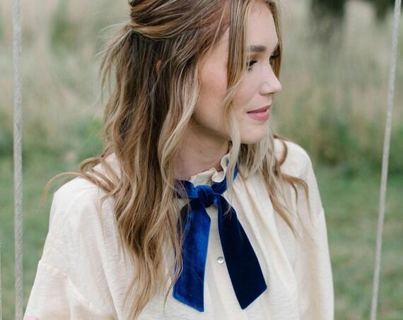 Royal Blue Velvet Skinny Scarf/Headband/Hair Tie/Pony Scarf